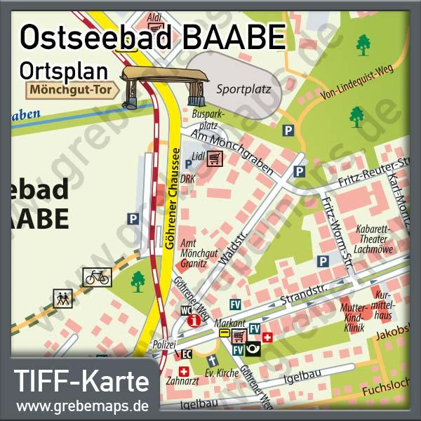 Ortsplan Baabe Ostseebad Auf Rügen, Karte Baabe, Ortskarte Baabe, Landkarte Baabe