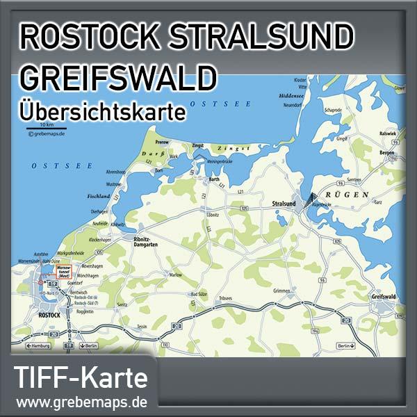 Karte Rostock Stralsund Greifswald Übersicht Lizenz XL)