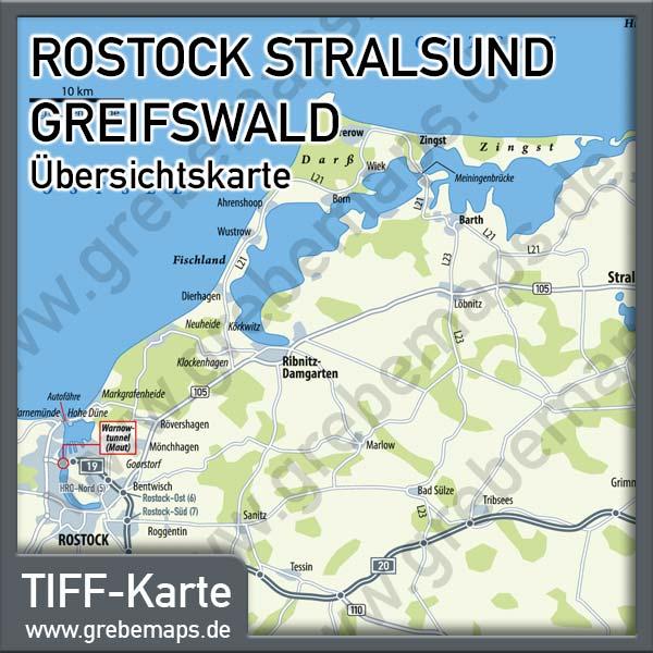 Karte Rostock Stralsund Greifswald Übersicht, Karte Ostsee Rostock Greifswald
