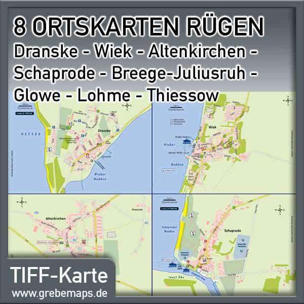 Ortskarten Rügen – Dranske – Wiek – Altenkirchen – Schaprode – Breege-Juliusruh – Glowe – Lohme – Thiessow (Lizenz XL)