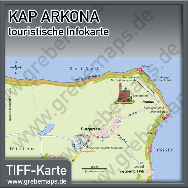 Karte Kap Arkona Rügen, Infokarte Kap Arkona, Lageplan Kap Arkona, Touristische Karte Kap Arkona