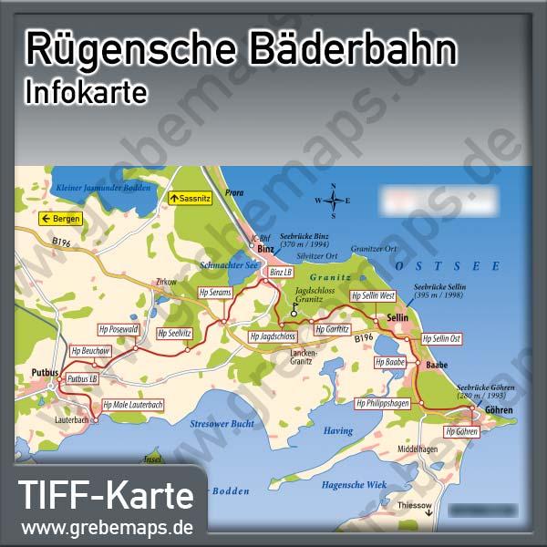 Karte Rügensche Bäderbahn (Lizenz XL)