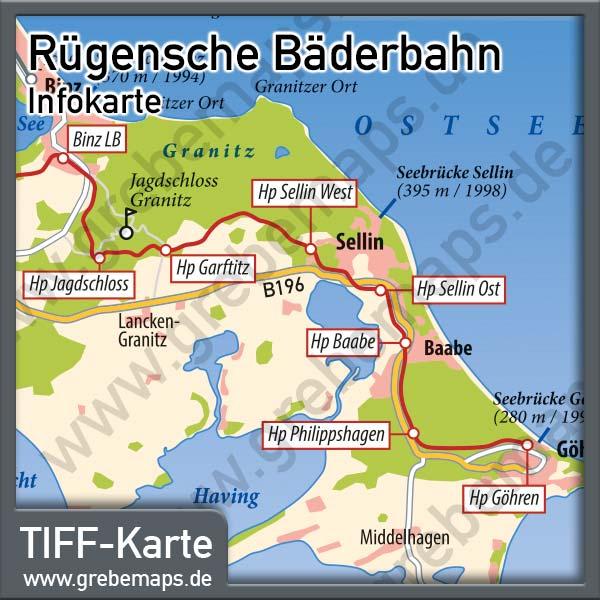 Karte Rügensche Bäderbahn, Karte Kleinspurbahn Putbus Göhren, Karte Bäderbahn Putbus Göhren