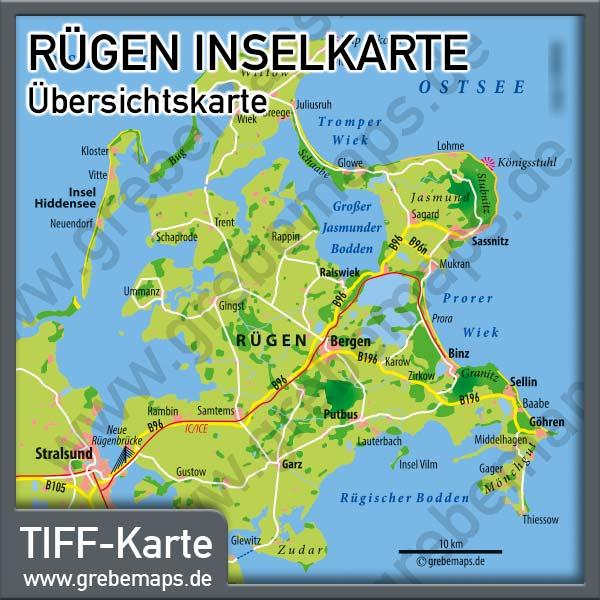 Karte Insel Rügen Übersicht (Lizenz XL)