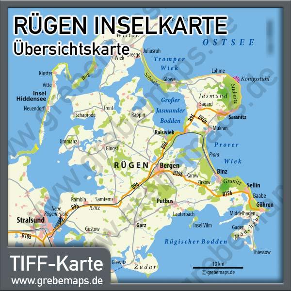 Karte Insel Rügen Übersicht, Inselkarte Rügen Übersicht