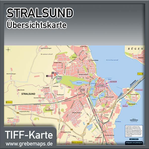 Karte Stralsund Übersicht (Lizenz XL)