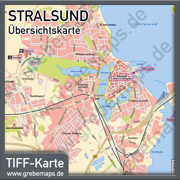 Karte Stralsund Übersicht, Übersichtskarte Stralsund, Stadtplan Stralsund Übersicht