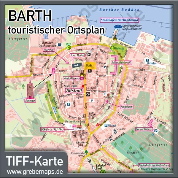 Ortsplan Barth, Karte Barth, Stadtplan Barth, Karte Ortsplan Barth