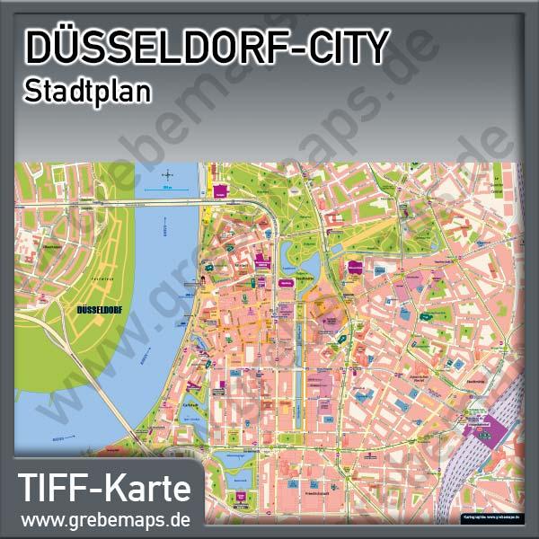 Stadtplan Düsseldorf-City Innenstadt Stadtmitte (Lizenz XL)