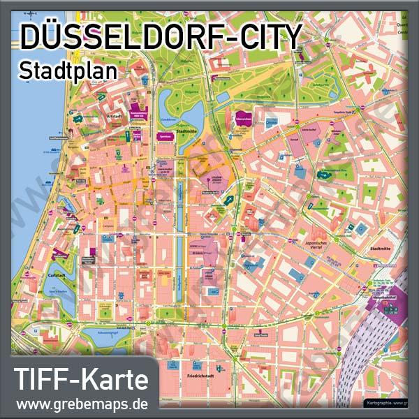 Stadtplan Düsseldorf-City Innenstadt Stdtmitte, Stadtplan Düsseldorf-Stadtmitte, Karte Düsseldorf-Stadtmitte