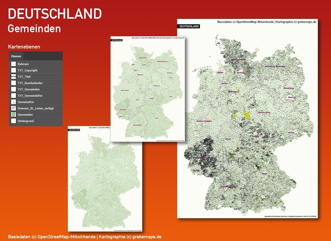 Deutschland PLZ Landkreise Gemeinden Vektorkarte (2018), Karte Deutschland Postleitzahlen, Karte Deutschland Landkreise, Karte Deutschland Gemeinden, Karte Deutschland Basis