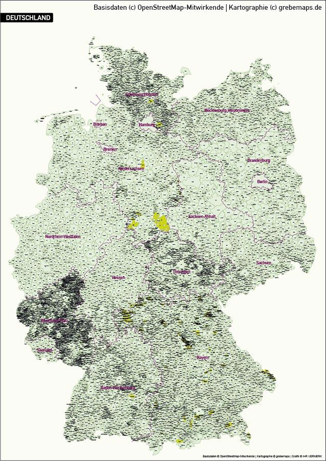 Karte Deutschland Gemeinden, Vektorkarte Deutschland Gemeinden, Karte Vektor Deutschland Gemeinden