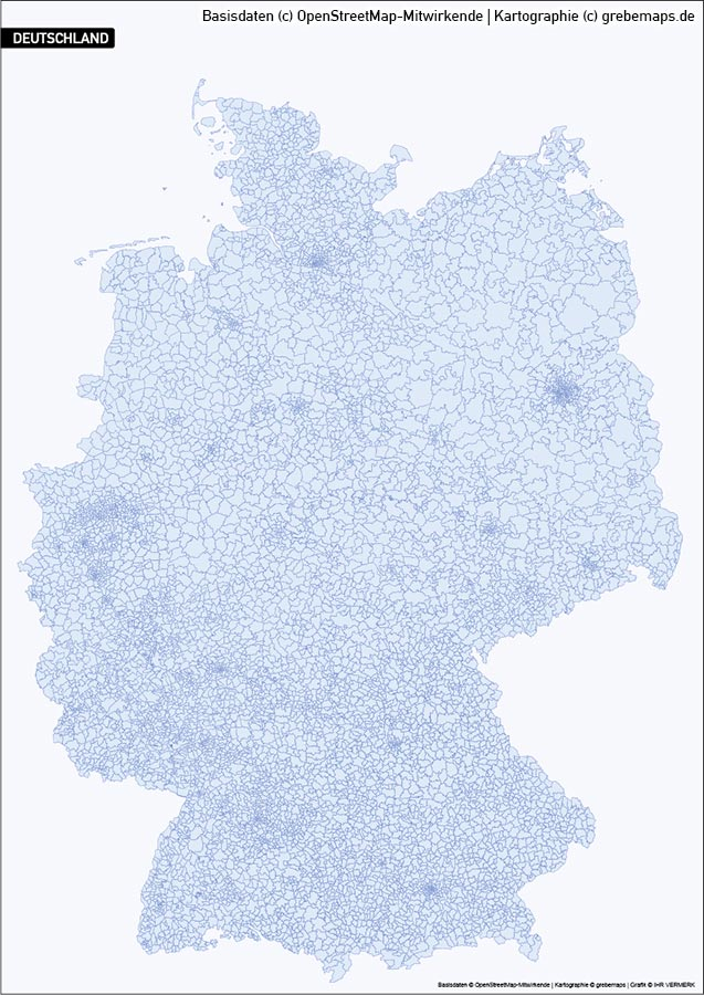 Karte Deutschland PLZ 5-stellig, PLZ-5 Karte Deutschland, Vektorkarte PLZ Deutschland 5-stellig