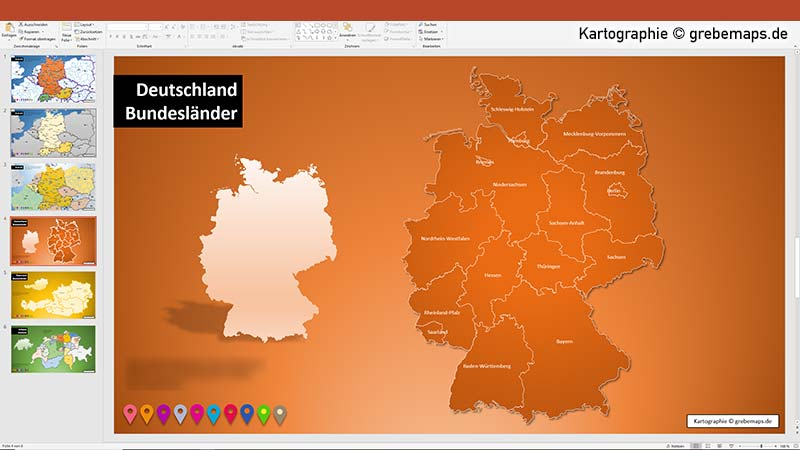 Karte Deutschland Für PowerPoint Mit Bundesländern