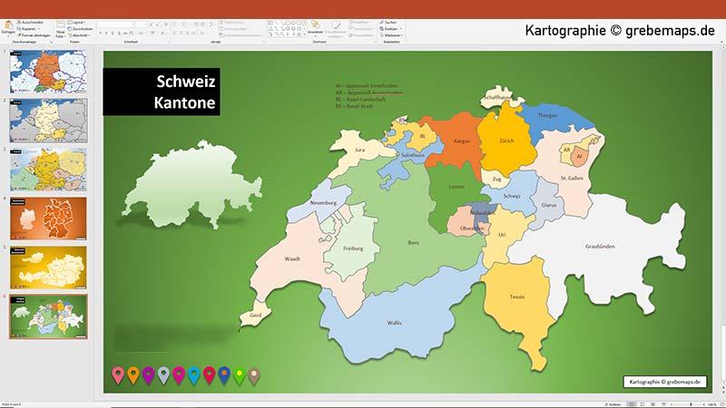 Karte Schweiz Für PowerPoint Mit Kantonen, Karte Kantone Schweiz