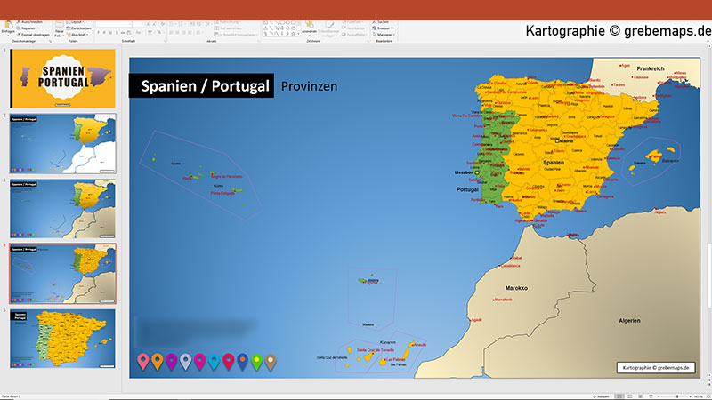 spanien portugal powerpoint karte mit provinzen grebemaps kartographie. Black Bedroom Furniture Sets. Home Design Ideas