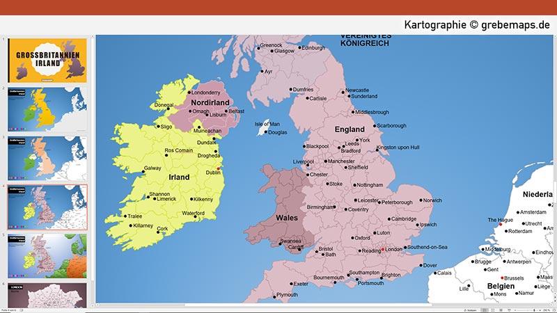 Großbritannien Irland PowerPoint-Karte Mit Provinzen, Karte Irland, Karte England, Karte Wales, Karte Schottland, Karte Nordirland, Karte Mit Provinzen, Vektorkarte