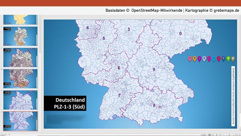 Deutschland PowerPoint-Karte Postleitzahlen PLZ-1-2-3, Vektorkarte Deutschland Postleitzahlen 1-stellig, 2-stellig, 3-stellig, Karte Deutschland PLZ-2, PLZ-3-, PLZ-1