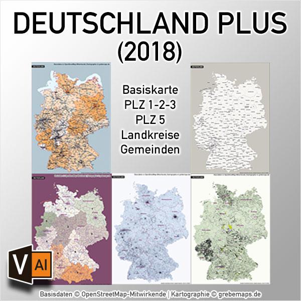 Deutschland Postleitzahlenkarte Landkreise Gemeinden Vektorkarte – BUNDLE Mit 5 Karten (2018)