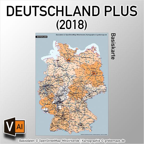 Deutschland PLUS Basiskarte Vektorkarte (2018), Karte Deutschland Postleitzahlen, Karte Deutschland Landkreise, Karte Deutschland Gemeinden, Karte Deutschland Basis