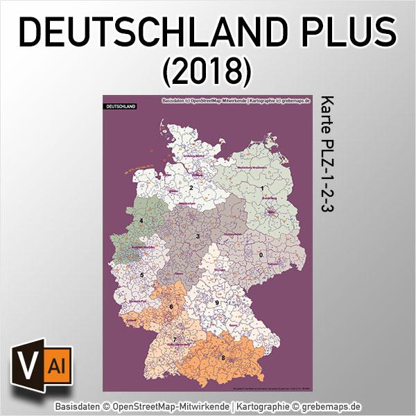 Deutschland Postleitzahlenkarte PLZ 1-2-3 Vektorkarte (2018)