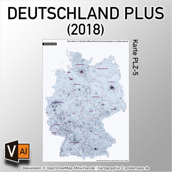 Deutschland PLUS Postleitzahlen PLZ-5 Vektorkarte, Karte Deutschland Postleitzahlen, Karte Deutschland Landkreise, Karte Deutschland Gemeinden, Karte Deutschland Basis