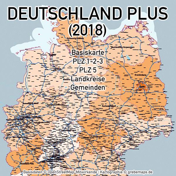 Deutschland - PLZ Landkreise Gemeinden Vektorkarte (2018), Karte Deutschland Postleitzahlen, Karte Deutschland Landkreise, Karte Deutschland Gemeinden, Karte Deutschland Basis