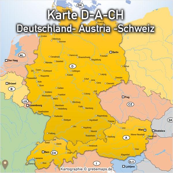 Karte Süddeutschland österreich Schweiz.Powerpoint Karte D A Ch Deutschland Austria Schweiz Mit Bundesländern Kantonen