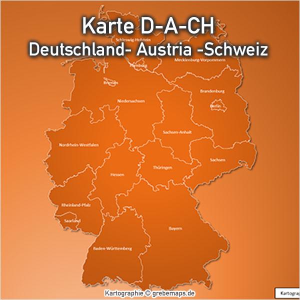 D-A-CH PowerPoint-Karte Deutschland Austria Schweiz, Karte D-A-CH Für PowerPoint Mit Bundesländern Und Kantonen, Karte D-A-CH Mit Angrenzenden Ländern (Polen, Niederlande, Belgien, Luxemburg, Tschechien, Ungarn, Frankreich)
