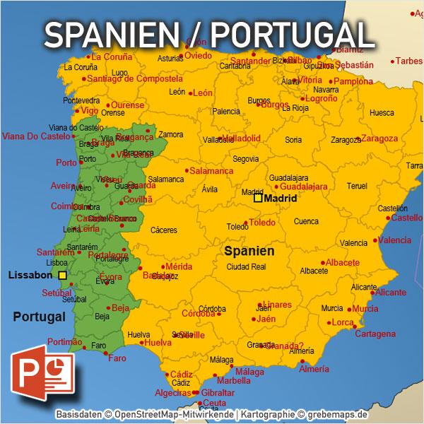 Spanien Portugal PowerPoint-Karte Mit Provinzen, Karte Spanien Portugal Mit Provinzen Für PowerPoint, Vektorkarten, Mit Kanaren, Balearen, Azoren