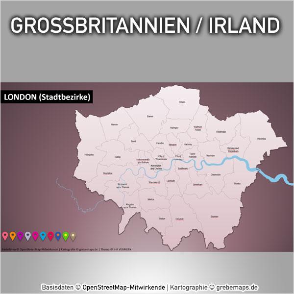 Großbritannien Irland PowerPoint-Karte Mit Provinzen, England, Schottland, Nordirland, London Stadtbezirke