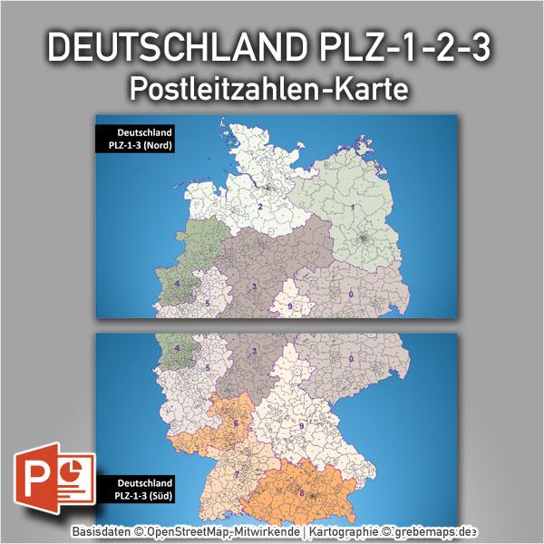 Deutschland PowerPoint-Karte Postleitzahlen PLZ-1-2-3, Karte Vektor Postleitzahlen Deutschland