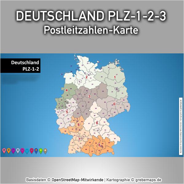 Deutschland PowerPoint-Karte Postleitzahlen PLZ-1-2-3, Karte Vektor Postleitzahlen DeutschlandDeutschland PowerPoint-Karte Postleitzahlen PLZ-1-2-3, Karte Vektor Postleitzahlen Deutschland