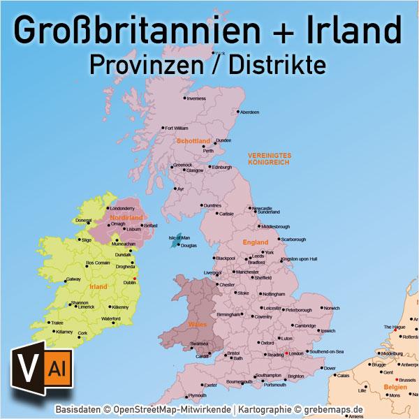 Großbritannien Irland Vektorkarte England Schottland Wales Nordirland Provinzen Distrikte, Karte Großbritannien, Karte Irland, Karte England, Karte Schottland, Karte Wales, Karte Nordirland