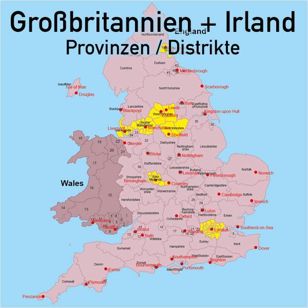 Birmingham Karte.Grossbritannien Irland Vektorkarte England Schottland Wales Nordirland Provinzen Distrikte
