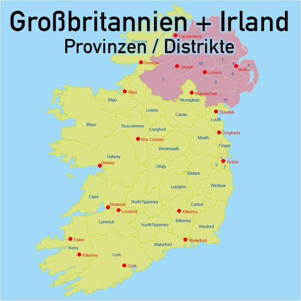 irland provinzen karte Großbritannien Irland Vektorkarte England Schottland Wales