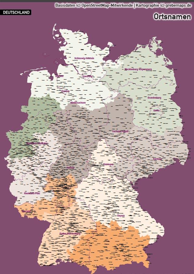 Karte Deutschland Postleitzahlen PLZ 1-2-3 Vektorkarte, Karte PLZ Deutschland, Vektorkarte Deutschland PLZ 1-2-3, Karte Deutschland Postleitzahlen