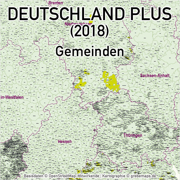 Deutschland PLUS Gemeinden Vektorkarte (2018), Karte Deutschland Postleitzahlen, Karte Deutschland Landkreise, Karte Deutschland Gemeinden, Karte Deutschland Basis