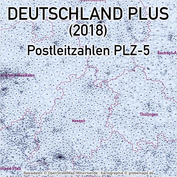Deutschland PLUS Postleitzahlen PLZ-5 Vektorkarte, Karte Deutschland Postleitzahlen, Karte Deutschland Landkreise, Karte Deutschland Gemeinden, Karte
