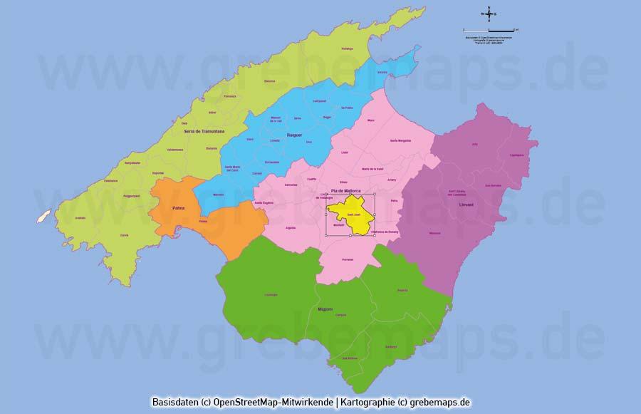 Mallorca Vektorkarte Gemeinden Landschaftszonen