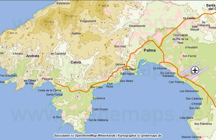 Mallorca Vektorkarte Höhenschichten Höhenlinien, Karte Mallorca Höhenschichten, Karte Mallorca Physisch, Karte Vektor Mallora, Vektorkarte Mallorca Physisch