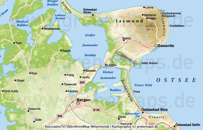 Rügen Vektorkarte Höhenschichten, Karte Rügen Höhenschichten, Karte Rügen Physisch, Physische Karte Rügen, Karte Vektor Rügen, Inselkarte Rügen