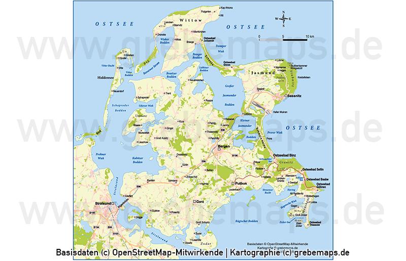 Rügen Vektorkarte Topographie, Rügen Übersichtskarte, Rügen Basiskarte, Karte Rügen Vektor, Inselkarte Rügen, Landkarte Rügen, Karte Rügen Topographie, Landkarte Rügen