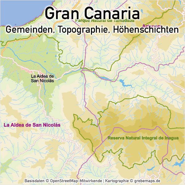 Gran Canaria Vektorkarte Topographie Gemeinden Höhenschichten, Vektorkarte Gran Canaria, Karte Vektor Gran Canaria, Karte Gran Canaria, AI, download, editierbar, skalierbar, Basiskarte Gran Canaria, Übersichtskarte Gran Canaria, Inselkarte Gran Canaria