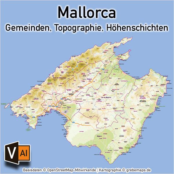 Mallorca Vektorkarte Topographie Gemeinden Höhenschichten