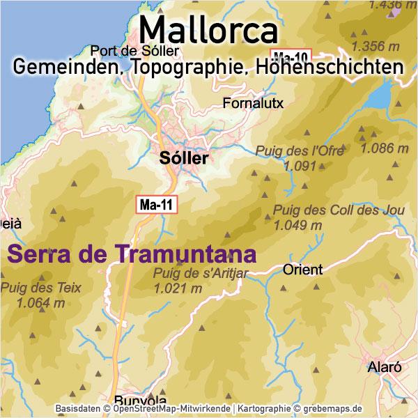 Mallorca Vektorkarte Topographie Gemeinden Höhenschichten, Karte Mallorca Vektor, Inselkarte Mallorca, Übersichtskarte Mallorca, Basiskarte Mallorca, Vector Karte Mallorca, AI, download, editierbar, skalierbar, anpassbar, bearbeitbar
