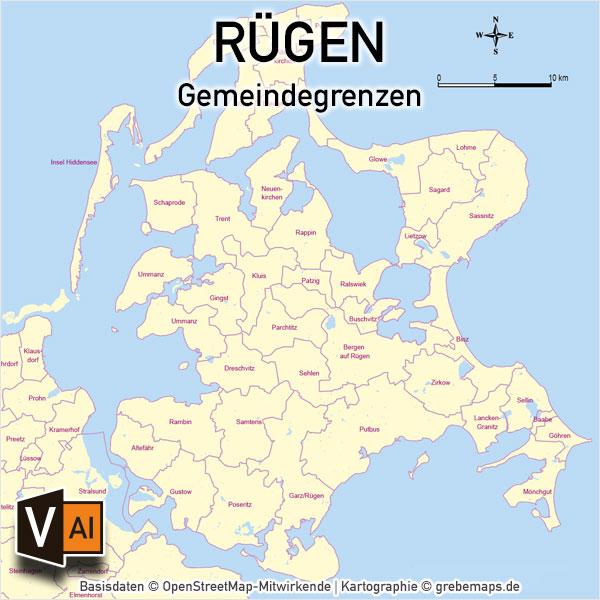 Rügen Vektorkarte Gemeinden, Karte Rügen Gemeinden, Karte Rügen Gemeindegrenzen, Karte Rügen Administrativ, Karte Rügen Vektor, Inselkarte Rügen Gemeinden