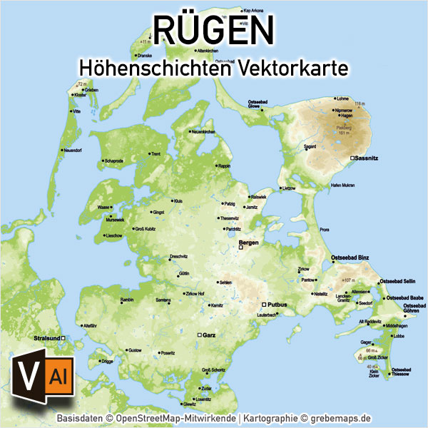Rügen Vektorkarte Höhenschichten Mit Gemeindegrenzen