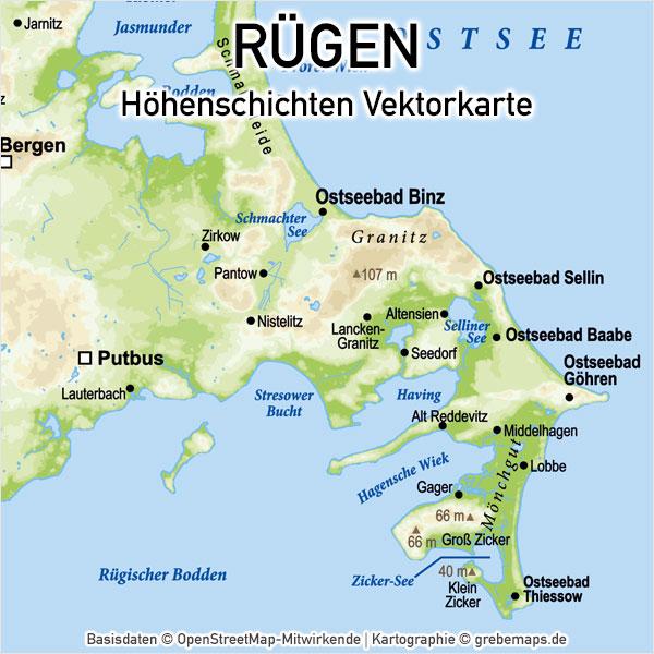 Rügen Vektorkarte Höhenschichten, Karte Rügen Höhenschichten, Karte Rügen Physisch, Physische Karte Rügen, Karte Vektor Rügen, Inselkarte Rügen Oberfläche