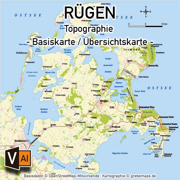Rügen Vektorkarte Topographie Mit Gemeindegrenzen